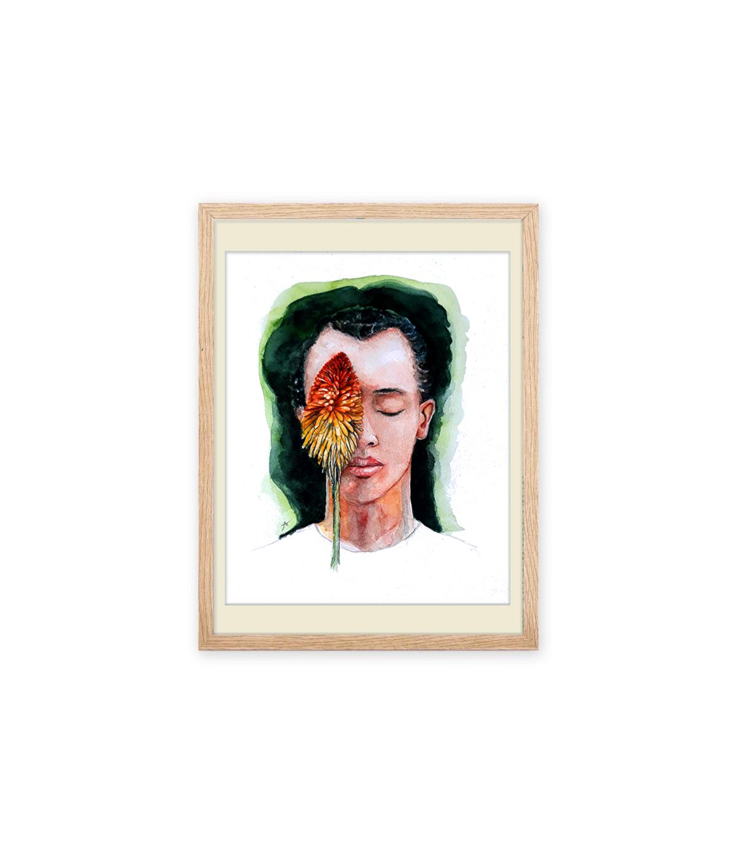 Portrait kniphophia encadré