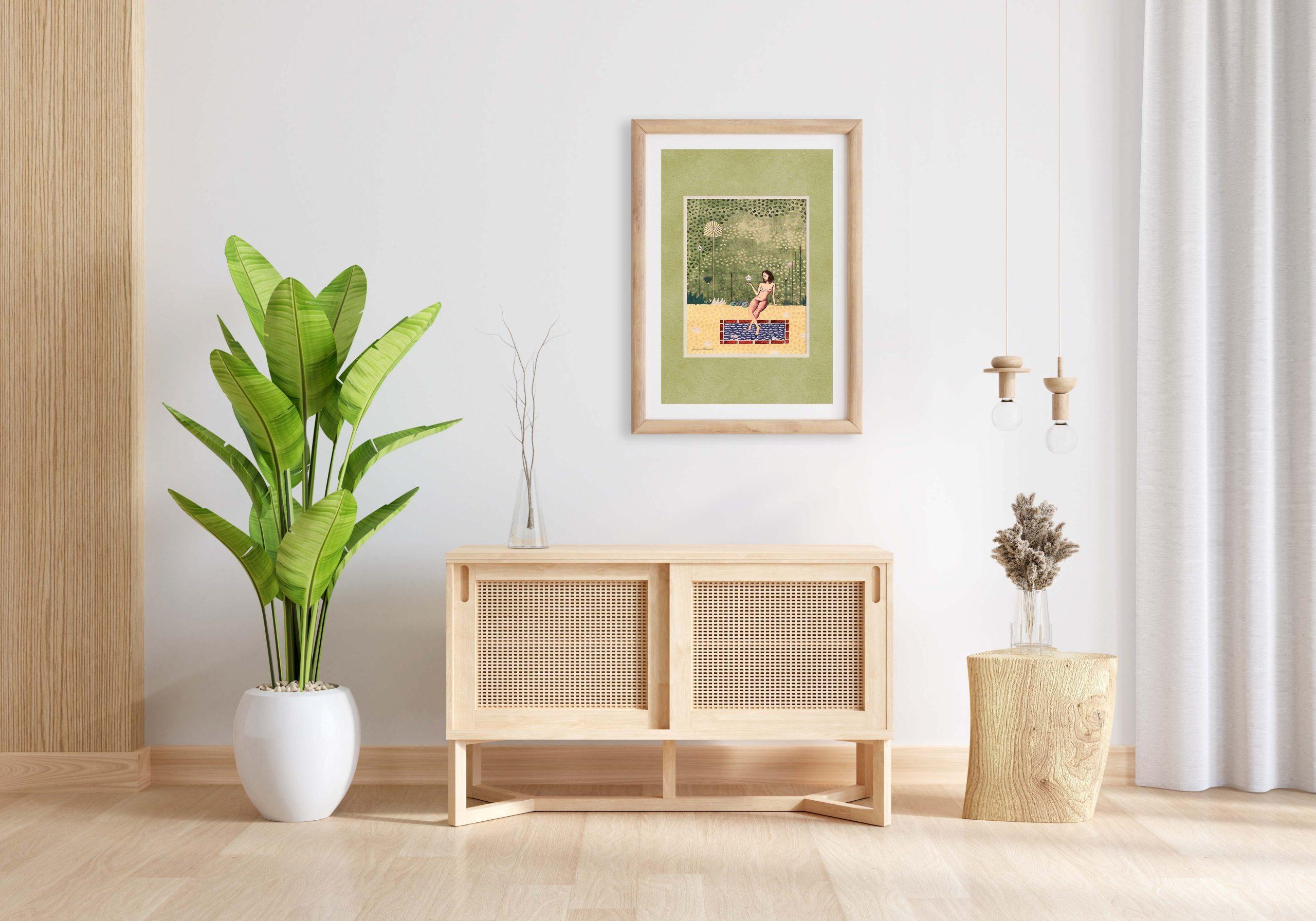Wood sideboard in living room with frame mockup, 3D rendering