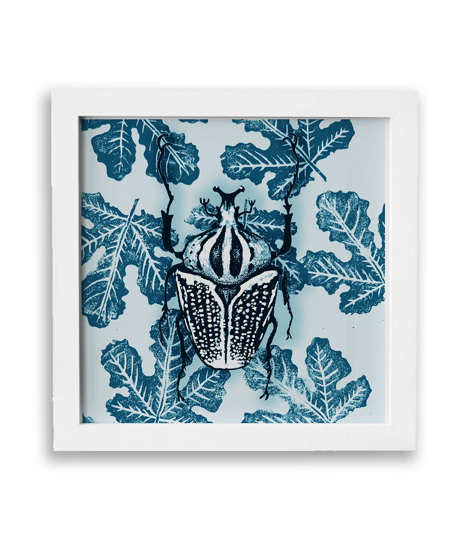scarabée bleu encadré