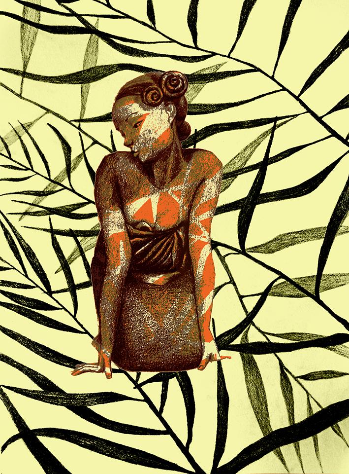 statuette madagascar feuilles